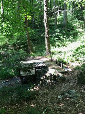 Picnic table over the creek - Creekside Inn